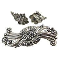 Early Margot de Taxco Brooch & Earring Set,Signed