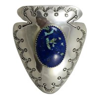 Outstanding Sterling Silver Lapis Bolo Tie Slide,Signed