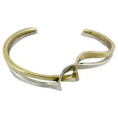 Navajo Designer Andy Marion Sterling Silver & 12K Gold Filled Bracelet,Signed