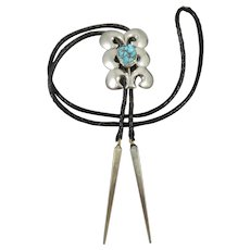 Vintage Sterling Silver and Turquoise Bolo Tie