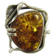 Large Art Nouveau Style Sterling Silver and Amber Ring