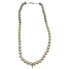 Sterling Silver & Stainless Steel Bead Necklace with Diamond Accent