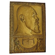German bronze commemorative plaque from Wilhelm V King of Wurttemberg, 1913