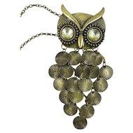 Vintage Brass & Rhinestone Owl Pendant w/Chain