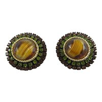 Gorgeous Vintage HAR Rhinestone and Givre Glass Earrings,Signed