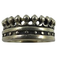Sterling Silver EXEX Crown Ring by Claudia Agudelo,Signed