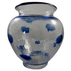 Large Hand Blown Studio Art Glass Vase by Lisa Avronson,Signed