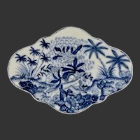 Porcelain Chinese Footed Serving Dish with Cherubs