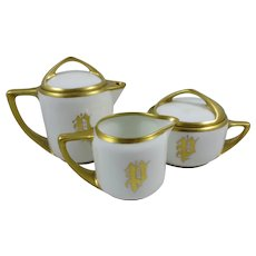 "Art Nouveau Rosenthal Bavaria ""Donatello"" Coffee,Sugar,Creamer set"