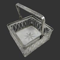 Lovely Sterling Silver Whiting Basket with Glass Insert
