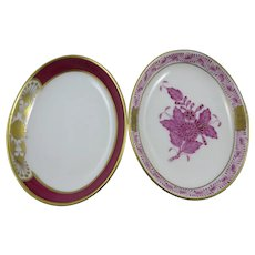 Two Handpainted Herend Porcelain Pin Trays,Signed