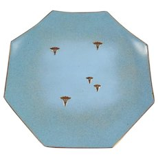 Midcentury Octagonal Copper Enamel Plate with the Caduceus Symbols