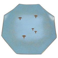 Midcentury Octagonal Copper Enamel Plate with the Caduceus Symbols