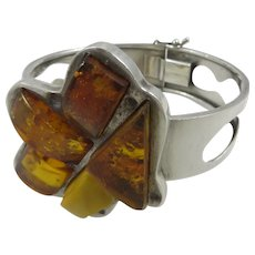Deco Sterling Silver Amber Cuff Bracelet