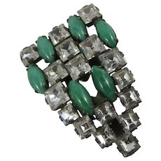 Vintage Deco Rhinestone and Green/Turquoise Glass Clip