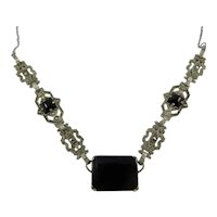 Deco Sterling Silver,Marcasite and Glass Necklace