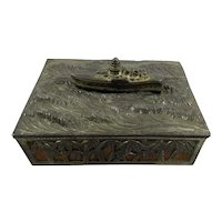 Vintage Japanese Warship Themed Metal Box