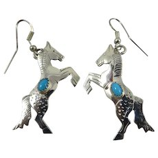 Sterling Silver and Turquoise Louise Yazzie Earrings, Signed.