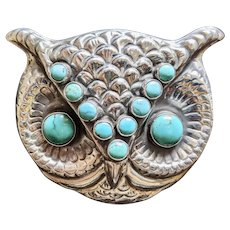 Gorgeous large Sterling Silver Federico Jimenez Owl Brooch/Pendant. Signed