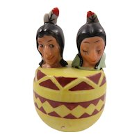 Vintage Native American Theme Salt and Pepper Porcelain Shakers