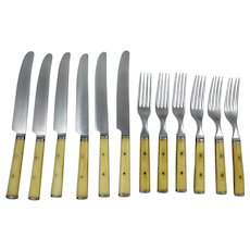 Beautiful Vintage Bone Handled John Primble Fork and Knife Set for Six.