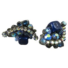 Gorgeous Vintage Robert Rhinestone and Glass bead Earrings,Signed.