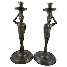 Unique Pair of Solid Bronze Figural Late 19C Candleholders