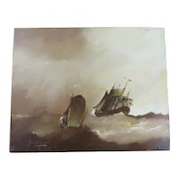 Three Galleons in a Storm by J. Coenraeth Pzm. Oil on wood.