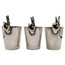Set of Three Napier Silver Plated Two Finger Jiggers
