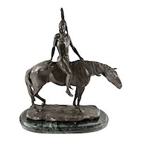 "Beautiful Bronze sculpture ""The Warrior"" (1904) by Charles Henry Humphriss (1867-1934) Signed"