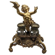 Bronze Putto Inkwell