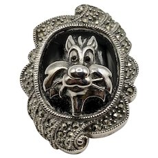 Rare Judith Jack Sylvester the Cat Sterling Silver Onyx Marcasite Brooch/Pendant