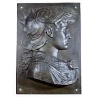 Bronze finish relief plaque of Greek Warrior