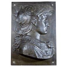 Bronze finish relief plaque of Greek Warrior