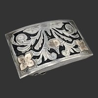 Vintage Mexican Sterling Silver Belt Buckle with Gold Accents,Signed