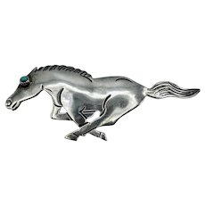 Vintage Sterling Silver and Turquoise Horse Brooch
