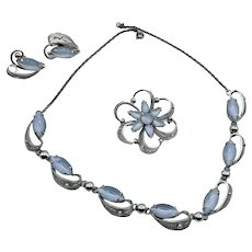 Vintage Alice Caviness Sterling Silver Moonstone Necklace,Brooch, Earring Set, Signed