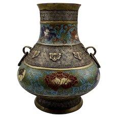 Vintage Asian Champleve Enamel Vase