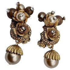 Vintage Unsigned Miriam Haskell Earrings