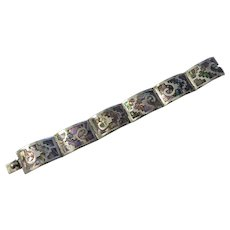 Vintage Sterling Silver and Abalone bracelet,Mexico,signed
