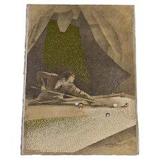 """Original Vintage Illustration """"Man Shooting Pool"""" by Norbert Lenz. Signed."""
