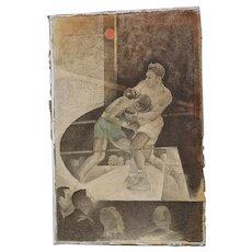 """Original Vintage Illustration """"Two Men in Ring"""" by Norbert Lenz"""