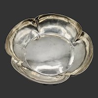 """Lebolt Arts and Crafts Sterling Silver Hand Beaten 10"""" Bowl, Signed"""