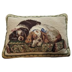 Vintage Needlepoint Dog Pillow