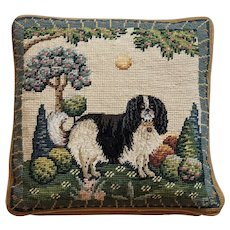 Vintage Needlepoint Dog Pillow, Garden theme