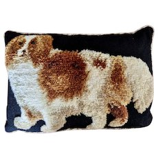 Large Vintage Needlepoint Dog Pillow