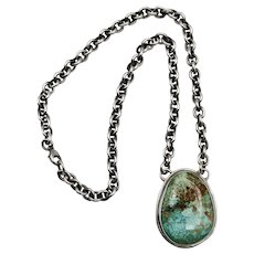 Vintage Sterling Silver & Turquoise Pendant Necklace,Signed