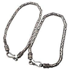 "Matching Pair of Vintage Sterling Silver Bali Style Byzantine Bracelets, 7.5"""