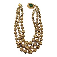 Vintage Brass Bead and Crystal Necklace