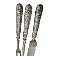 Vintage  Native Chief Silver Plated  Carving Set